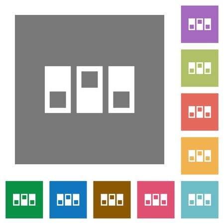 Switchboard flat icons on simple color square background.