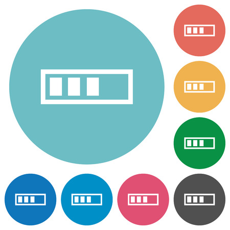 Progressbar flat white icons on round color backgrounds