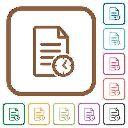 saved: Document modified time simple icons in color rounded square frames on white background Illustration