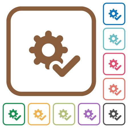 saved: Settings ok simple icons in color rounded square frames on white background Illustration