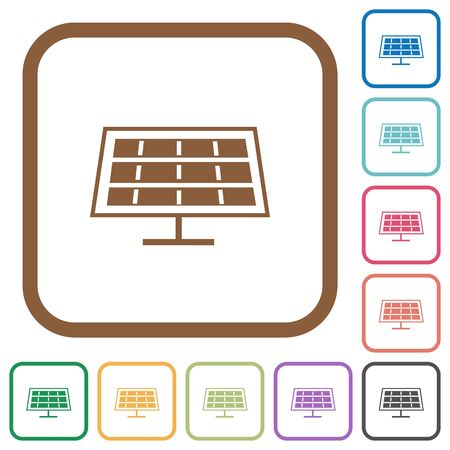solarenergy: Solar panel simple icons in color rounded square frames on white background Illustration