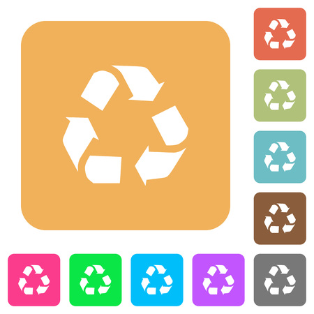 conservationist: Recycling icons on rounded square vivid color backgrounds. Illustration