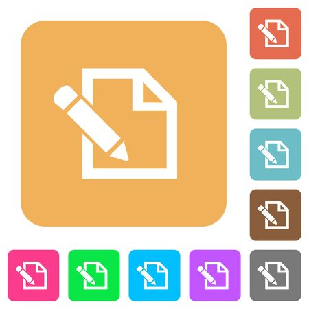 Edit icons on rounded square vivid color backgrounds. Illustration