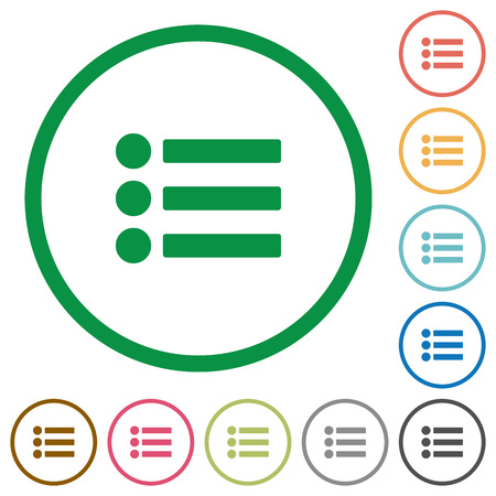 disordered: Bullet list flat color icons in round outlines on white background
