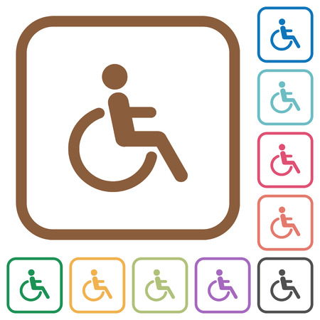 Disability simple icons in color rounded square frames on white background