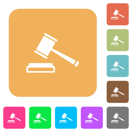 auction win: Auction hammer icons on rounded square vivid color backgrounds. Illustration