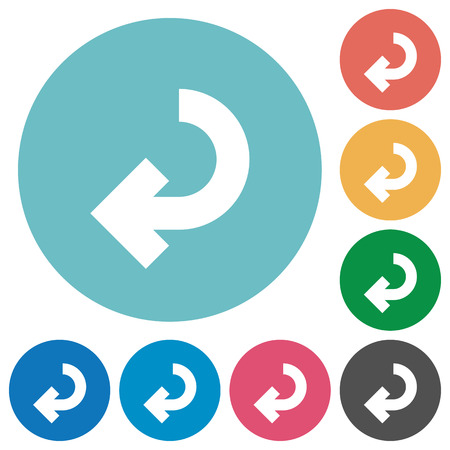 accomplish: Return arrow flat white icons on round color backgrounds