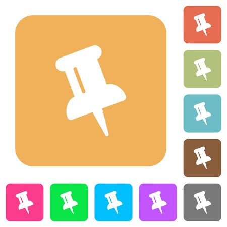 puncture: Push pin icons on rounded square vivid color backgrounds.