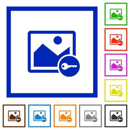 encrypt: Encrypt image flat color icons in square frames on white background Illustration