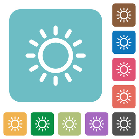 luminary: Brightness control white flat icons on color rounded square backgrounds Illustration