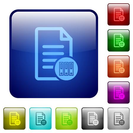 icônes de documents d'archives en arrondi couleur carré brillant button set