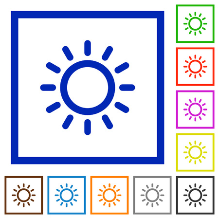 luminary: Brightness control flat color icons in square frames on white background