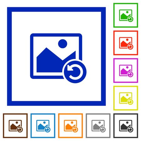 Image rotate left flat color icons in square frames on white background Illustration