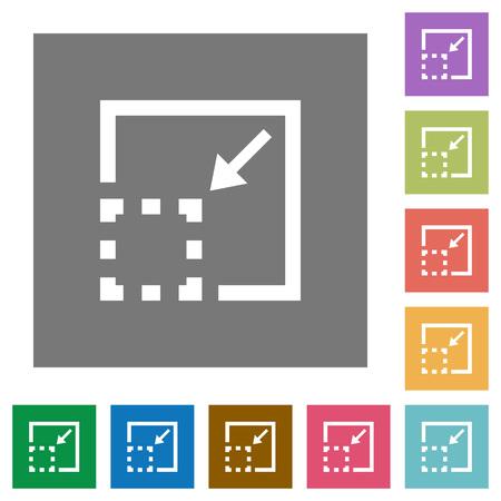 minimize: Minimize element flat icons on simple color square backgrounds Illustration