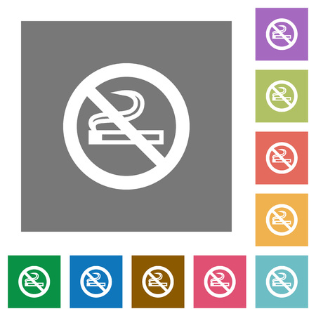 unsanitary: No smoking flat icons on simple color square backgrounds