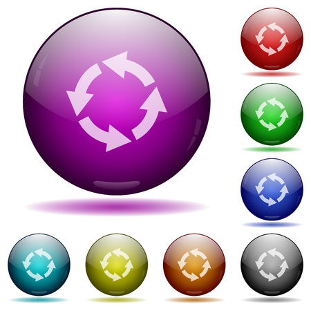 rotate: Rotate left icons in color glass sphere buttons with shadows