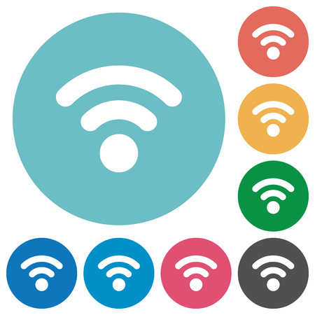 attenuation: Radio signal flat white icons on round color backgrounds
