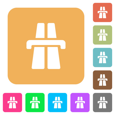 bent highway: Highway icons on rounded square vivid color backgrounds.
