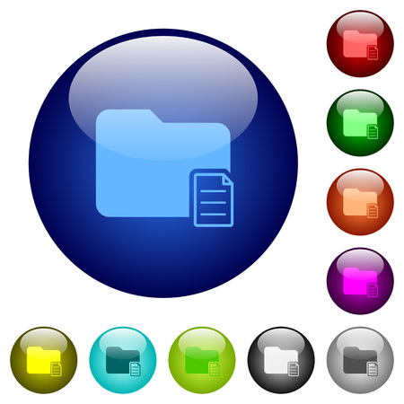 Folder properties icons on round color glass buttons