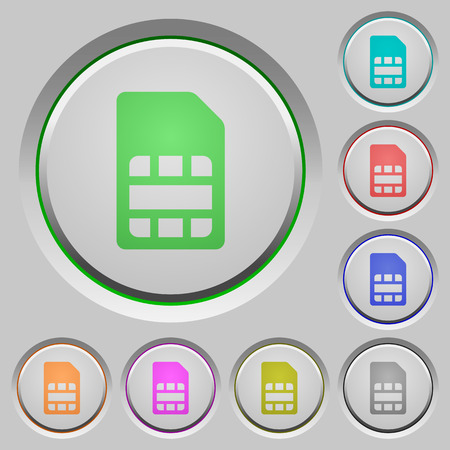 SIM card color icons on sunk push buttons Illustration