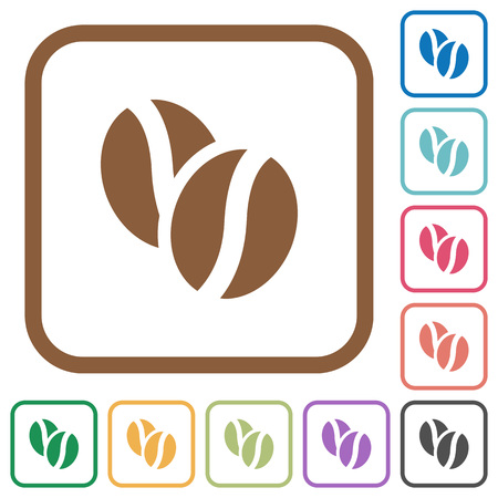 coffe beans: Coffe beans simple icons in color rounded square frames on white background Illustration