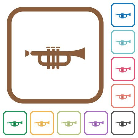 tact: Trumpet simple icons in color rounded square frames on white background Illustration