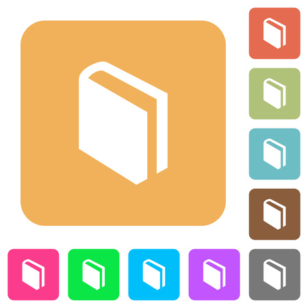 Book icons on rounded square vivid color backgrounds.