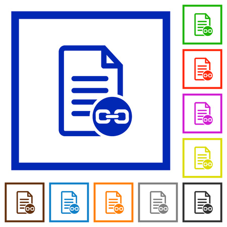 attachment: Document attachment flat color icons in square frames on white background Illustration