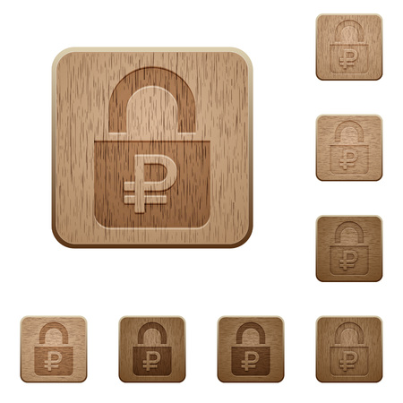 locked: Locked Rubles on carved wooden button styles Illustration