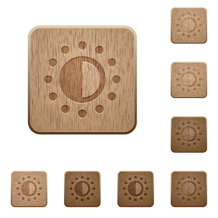 saturation: Saturation control on carved wooden button styles Illustration