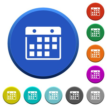 Hanging calendar round color beveled buttons with smooth surfaces and flat white icons