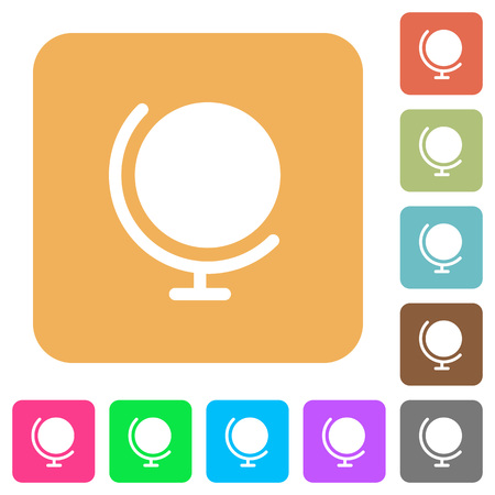 northpole: Globe icons on rounded square vivid color backgrounds. Illustration