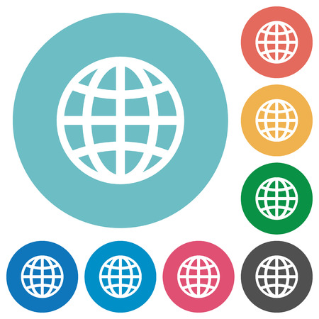 routing: Globe flat white icons on round color backgrounds Illustration