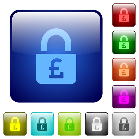 Locked Pounds icons in rounded square color glossy button set Illustration