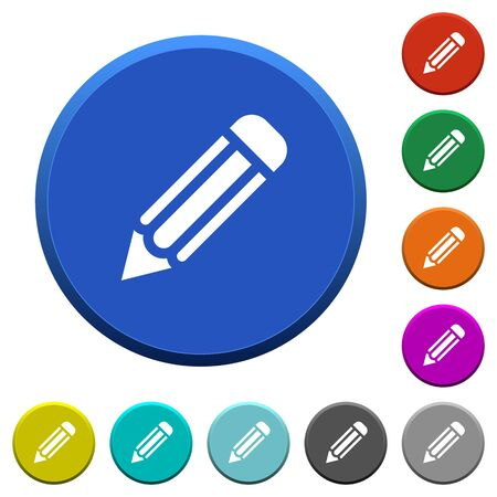 Pencil round color beveled buttons with smooth surfaces and flat white icons Illustration