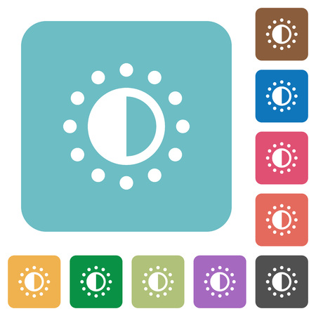 luminance: Saturation control white flat icons on color rounded square backgrounds