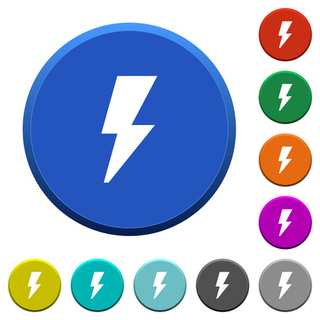 Flash round color beveled buttons with smooth surfaces and flat white icons Illustration