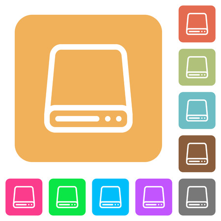 Hard disk drive icons on rounded square vivid color backgrounds. Illustration