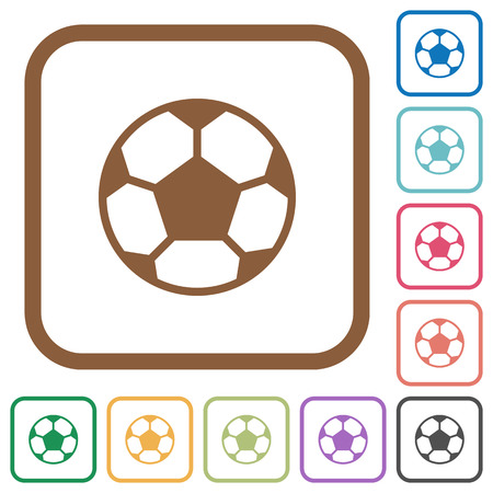 Soccer Ball Simple Icons In Color Rounded Square Frames On White ...