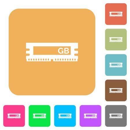 kilobyte: RAM module icons on rounded square vivid color backgrounds. Illustration