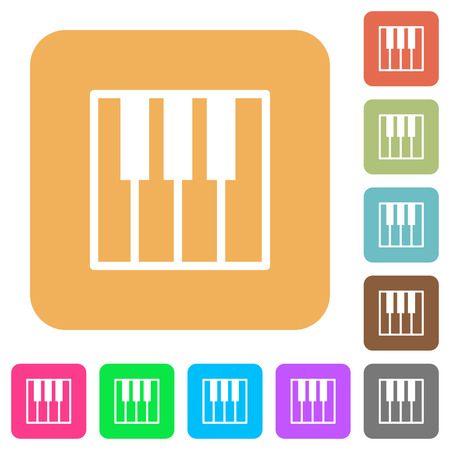 at tact: Piano keyboard icons on rounded square vivid color backgrounds.