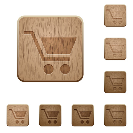 naught: Empty cart on rounded square carved wooden button styles Illustration