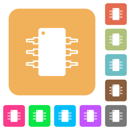 ic: Integrated circuit icons on rounded square vivid color backgrounds. Illustration