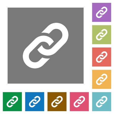 peers: Link flat icons on simple color square backgrounds Illustration