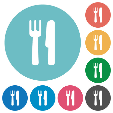 Cutlery flat white icons on round color backgrounds