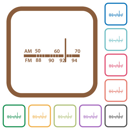 tuner: Radio tuner simple icons in color rounded square frames on white background Illustration