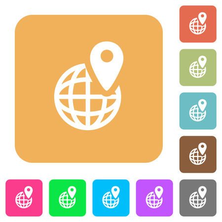 markup: GPS location icons on rounded square vivid color backgrounds. Illustration