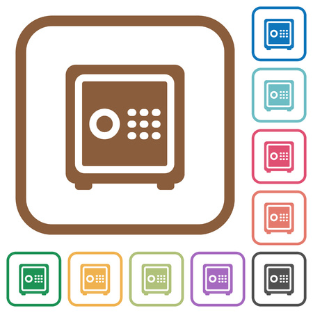 Strong box simple icons in color rounded square frames on white background Illustration