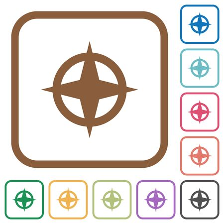 backsight: Map directions simple icons in color rounded square frames on white background Illustration