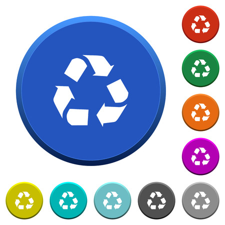 conservationist: Recycling round color beveled buttons with smooth surfaces and flat white icons